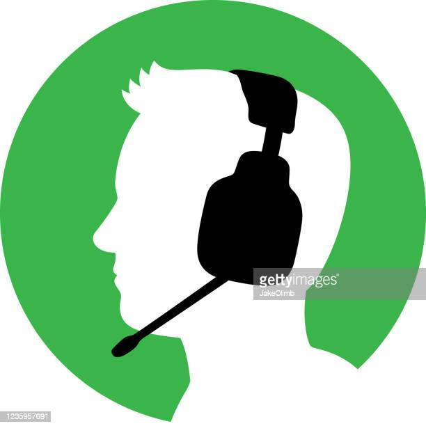 man with headset icon silhouette 1 - live broadcast stock illustrations