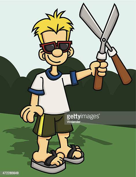 man with hedge trimmers - hedge trimmer stock illustrations, clip art, cartoons, & icons