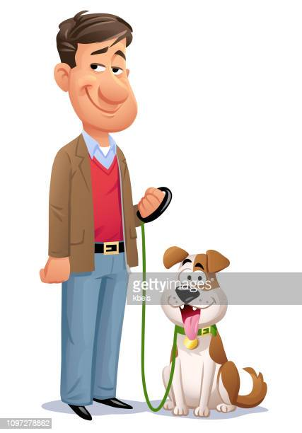 man with his dog - pet equipment stock illustrations