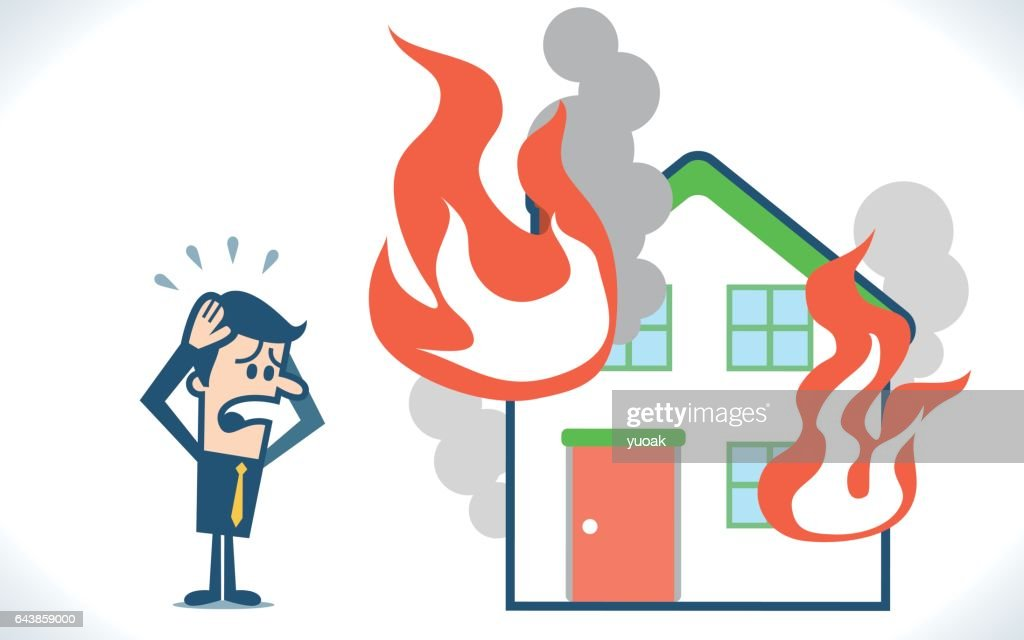 Man with house & fire : stock illustration