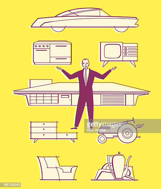 man with household items and car - buy single word stock illustrations, clip art, cartoons, & icons