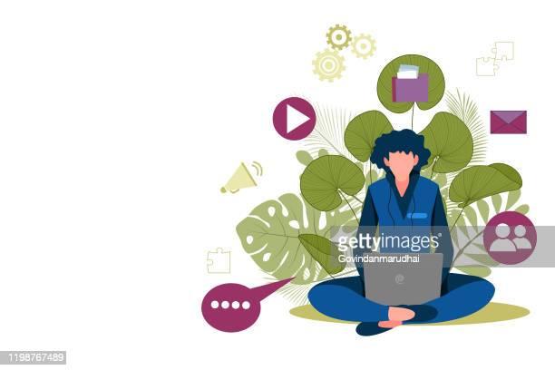 mann mit laptop sitzt in der natur und geht. konzept-illustration für arbeiten, freiberuflich, studium, bildung, arbeit von zu hause aus. - laptop benutzen stock-grafiken, -clipart, -cartoons und -symbole