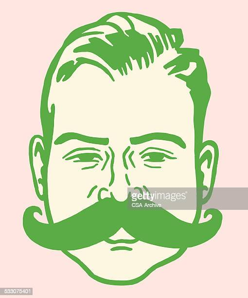 man with large mustache - moustache stock illustrations
