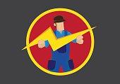 Man with Lightning Symbol Vector Illustration