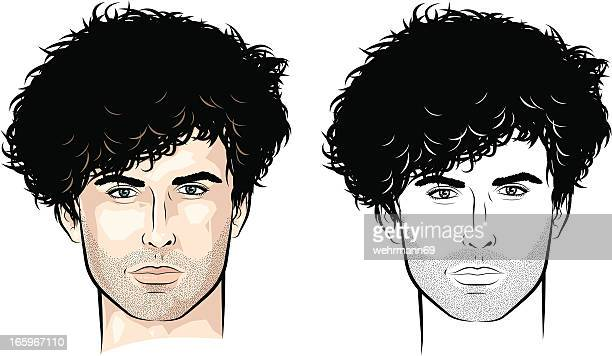 man with lots of curls - hair stubble stock illustrations