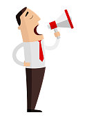 A man with loudspeaker on white background. Vector illustration.