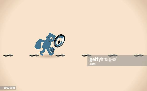 Man with Magnifying Glass Looking for Money