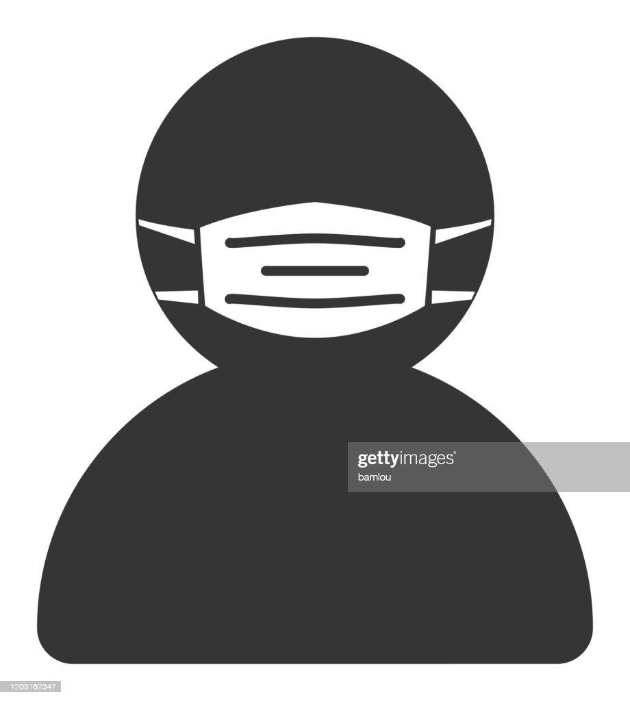 マスクアイコンを持つ男 : ストックイラストレーション