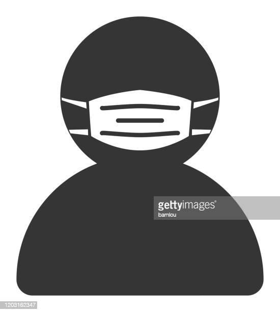 ilustrações de stock, clip art, desenhos animados e ícones de man with mask icon - tossir