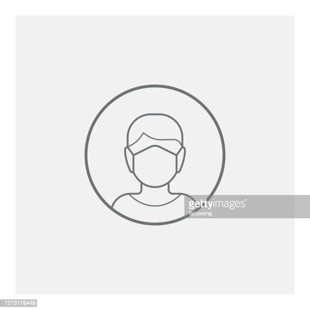 mann mit medizinischem maskensymbol - mundschutz stock-grafiken, -clipart, -cartoons und -symbole