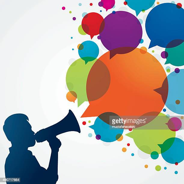 man with megaphone and speech bubbles - public speaker stock illustrations