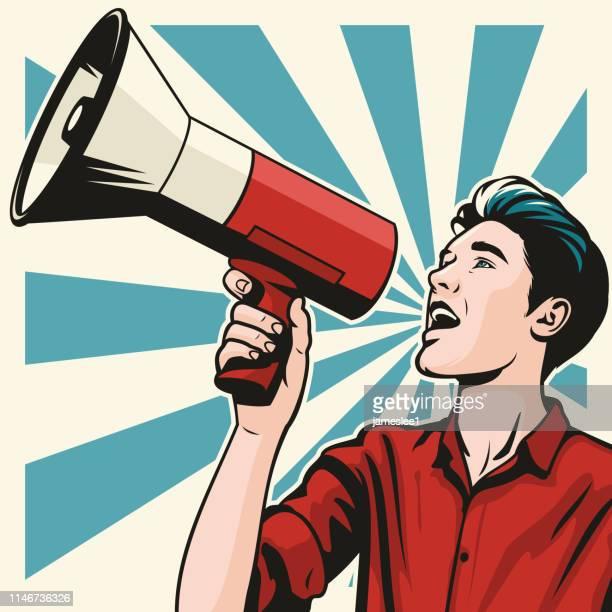 man with megaphone - megaphone stock illustrations