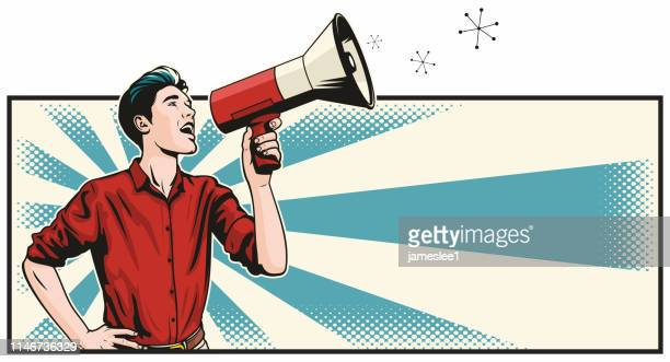 man with megaphone - wide screen stock illustrations