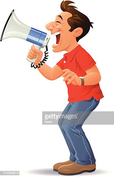 man with megaphone - jeans stock illustrations, clip art, cartoons, & icons