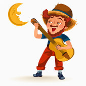 Man with mustache plays guitar near fire under moon vector illustration, Boy singing son at bonfire at night