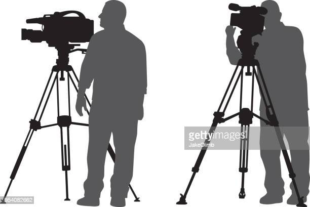 man with news camera silhouettes - camera tripod stock illustrations, clip art, cartoons, & icons