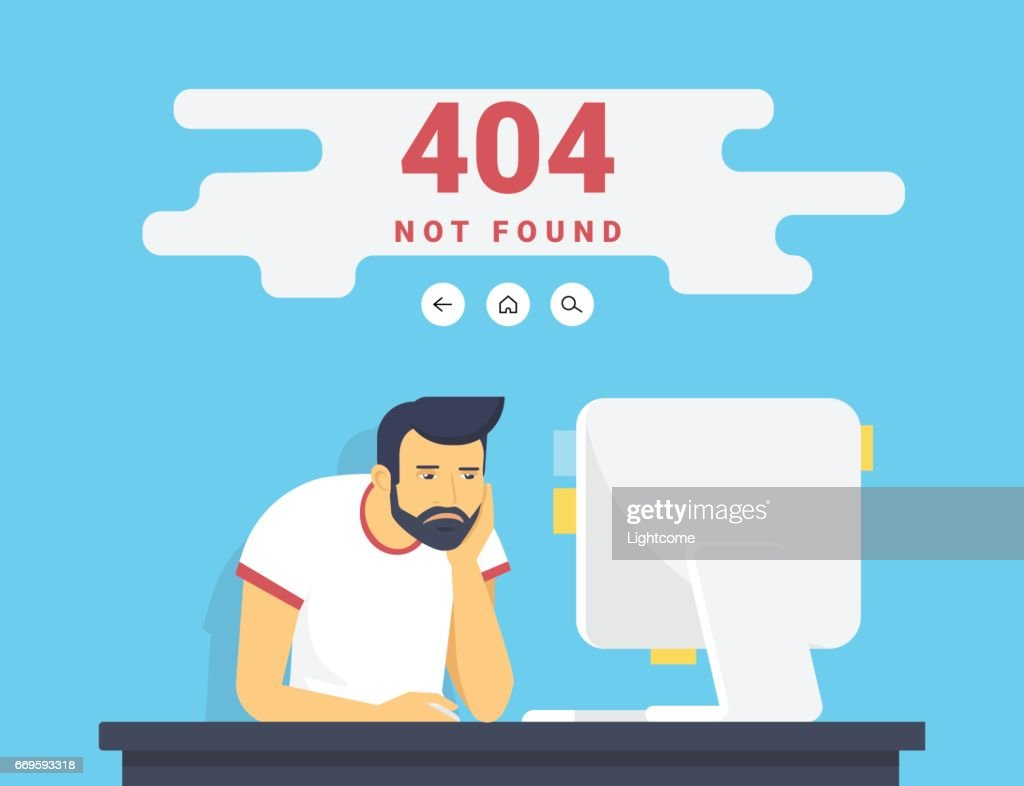 Man With Pc Sitting At Home 404 Page Not Found Error Vector Art
