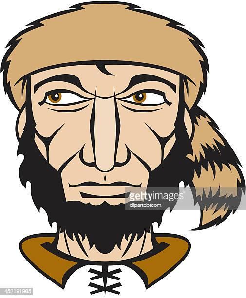 man with raccoon hat - fur hat stock illustrations