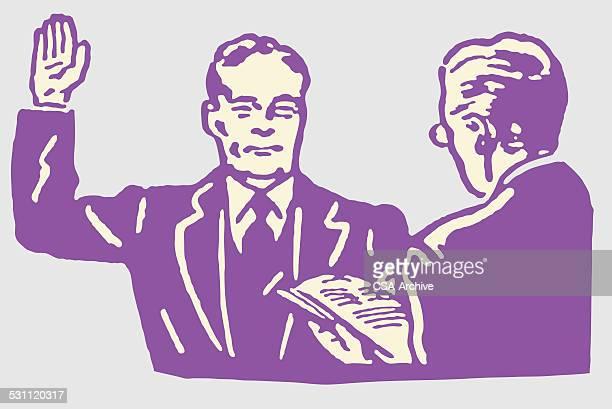 stockillustraties, clipart, cartoons en iconen met man with raised hand for vow - eed