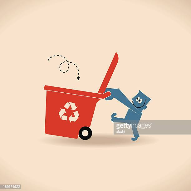Man with Recycling Bin