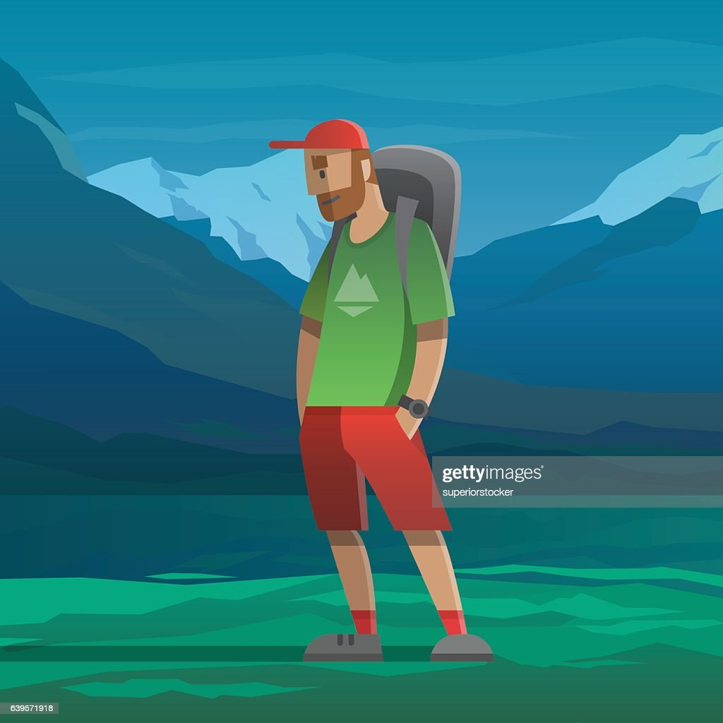 Man with red cap and backpack in the mountains.