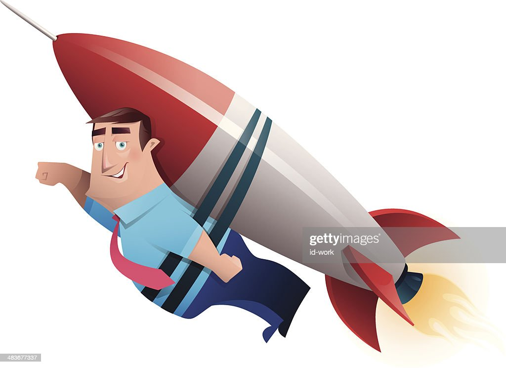 man with rocket launching