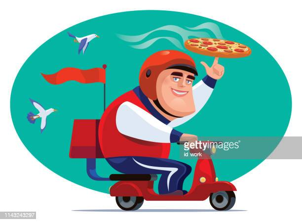 man with scooter and pizza