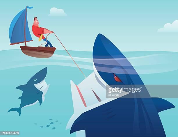 man with shark