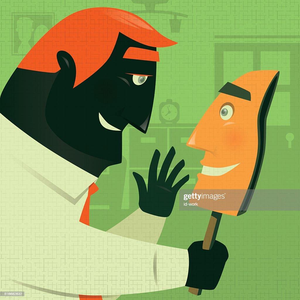 Hombre con máscara de cara sonriente : Ilustración de stock