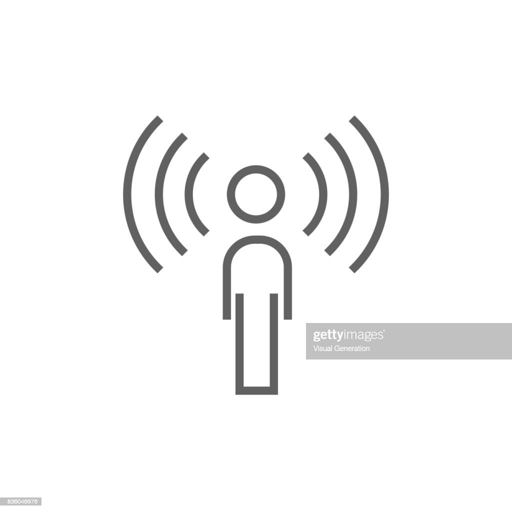 Man with soundwaves line icon