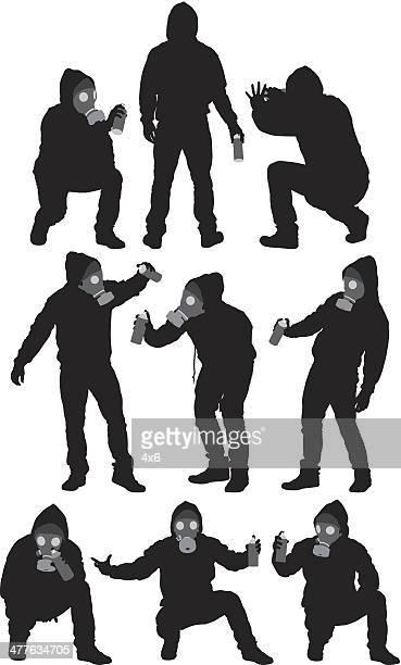 ilustrações de stock, clip art, desenhos animados e ícones de homem com spray pode - casaco com capuz