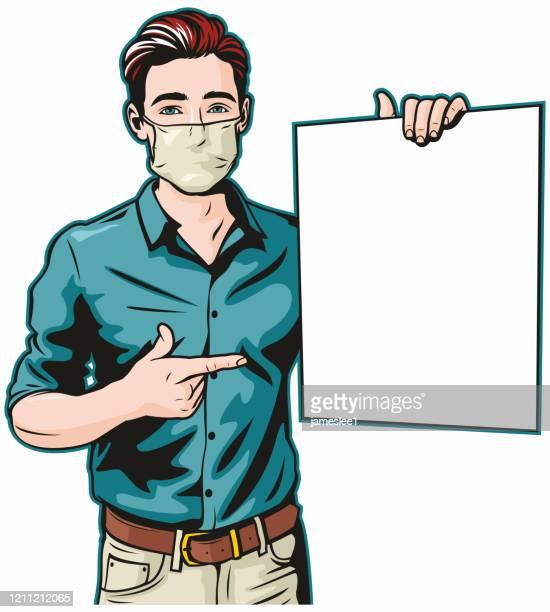 ilustrações de stock, clip art, desenhos animados e ícones de man with surgical mask and blank sign - só um homem