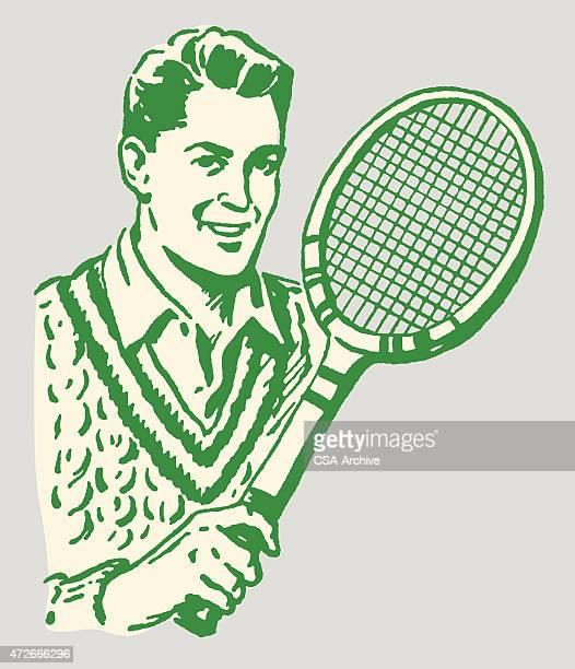 ilustraciones, imágenes clip art, dibujos animados e iconos de stock de hombre con una raqueta de tenis - raqueta de tenis