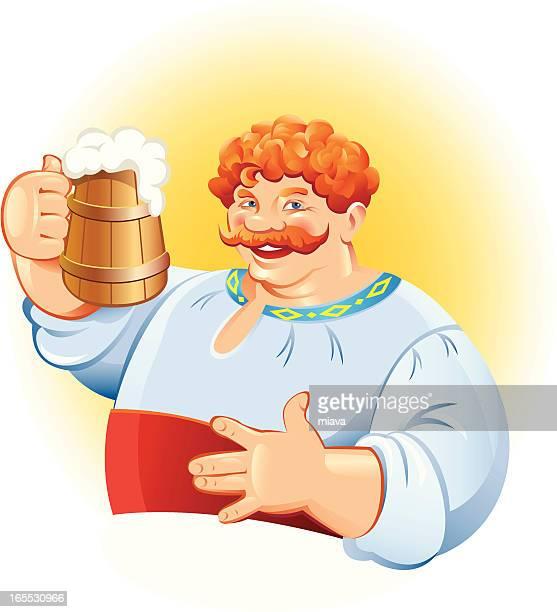 ilustrações de stock, clip art, desenhos animados e ícones de homem com caneca de cerveja - bebe chegando