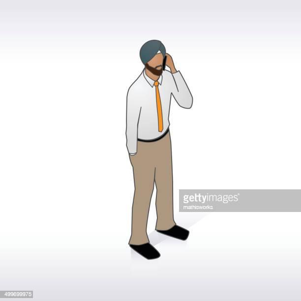 ilustrações de stock, clip art, desenhos animados e ícones de homem com turbante indiano no telefone ilustração - mathisworks