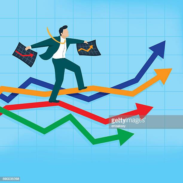 man with two chart balancing atop a performance graph - men's field event stock illustrations