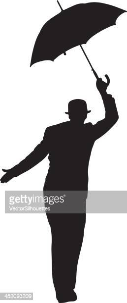 Man with umbrella silhouette