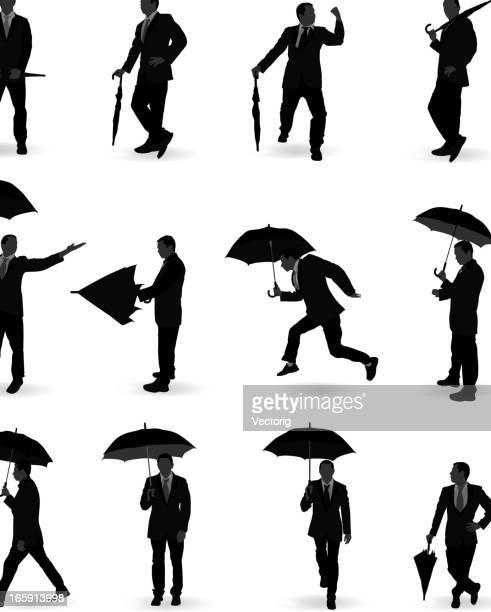 man with umbrella - closed stock illustrations, clip art, cartoons, & icons