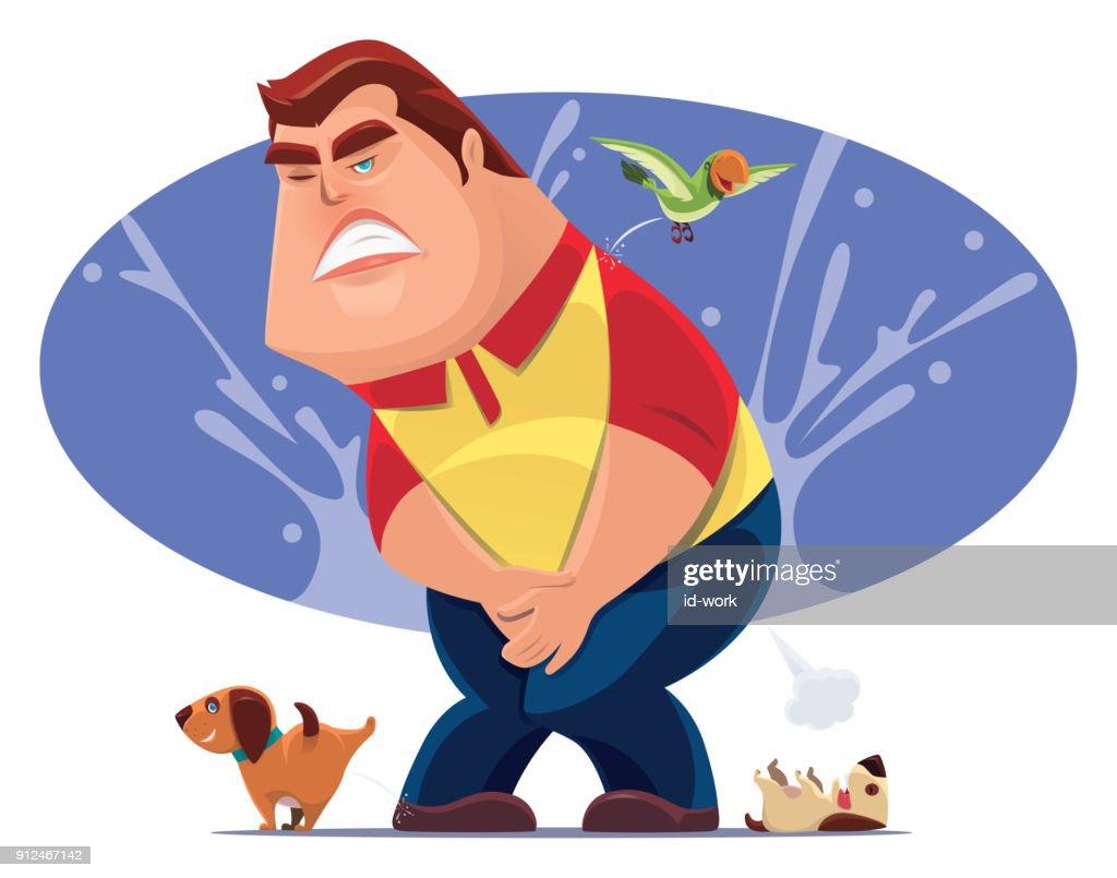 man with urine urgency problem : stock illustration