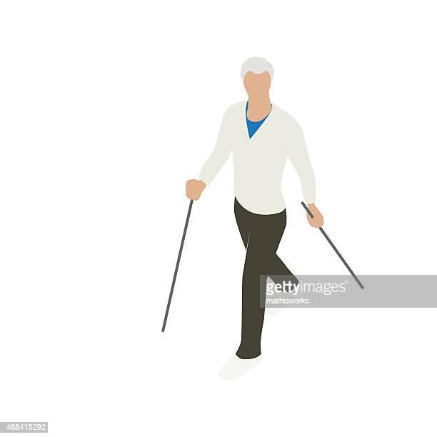Mann mit walking-Stöcke Illustrationen