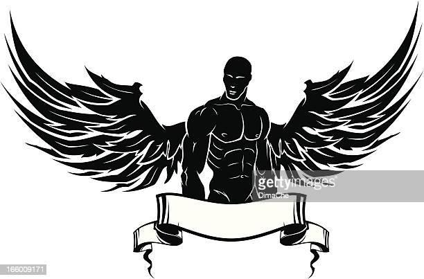ilustraciones, imágenes clip art, dibujos animados e iconos de stock de hombre con alas - parte del cuerpo animal