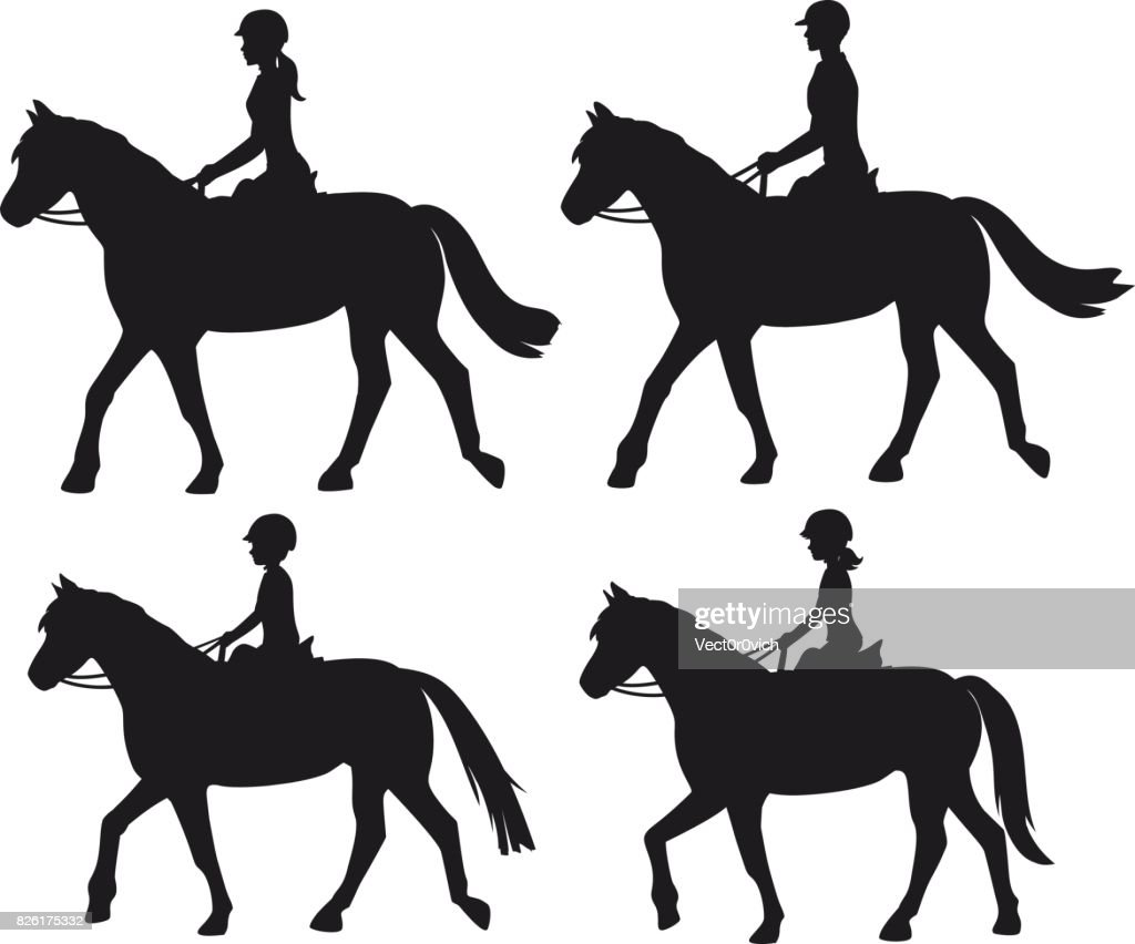 Man woman boy and girl silhouettes riding horses. Family, Couple and chirdren horseback training vector illustration