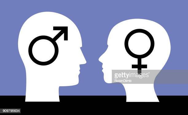 man woman gender symbol heads - profile view stock illustrations