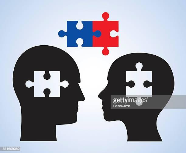 Man Woman Puzzle Piece Heads