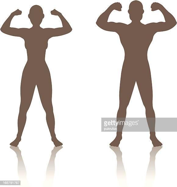 man woman strength - bicep stock illustrations, clip art, cartoons, & icons