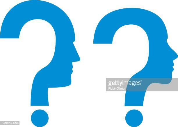 man women question mark heads - question mark stock illustrations