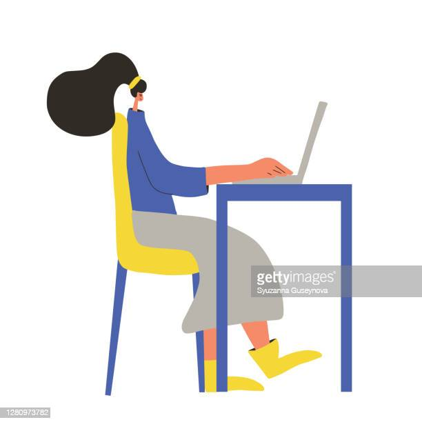 woman working computer person using laptop