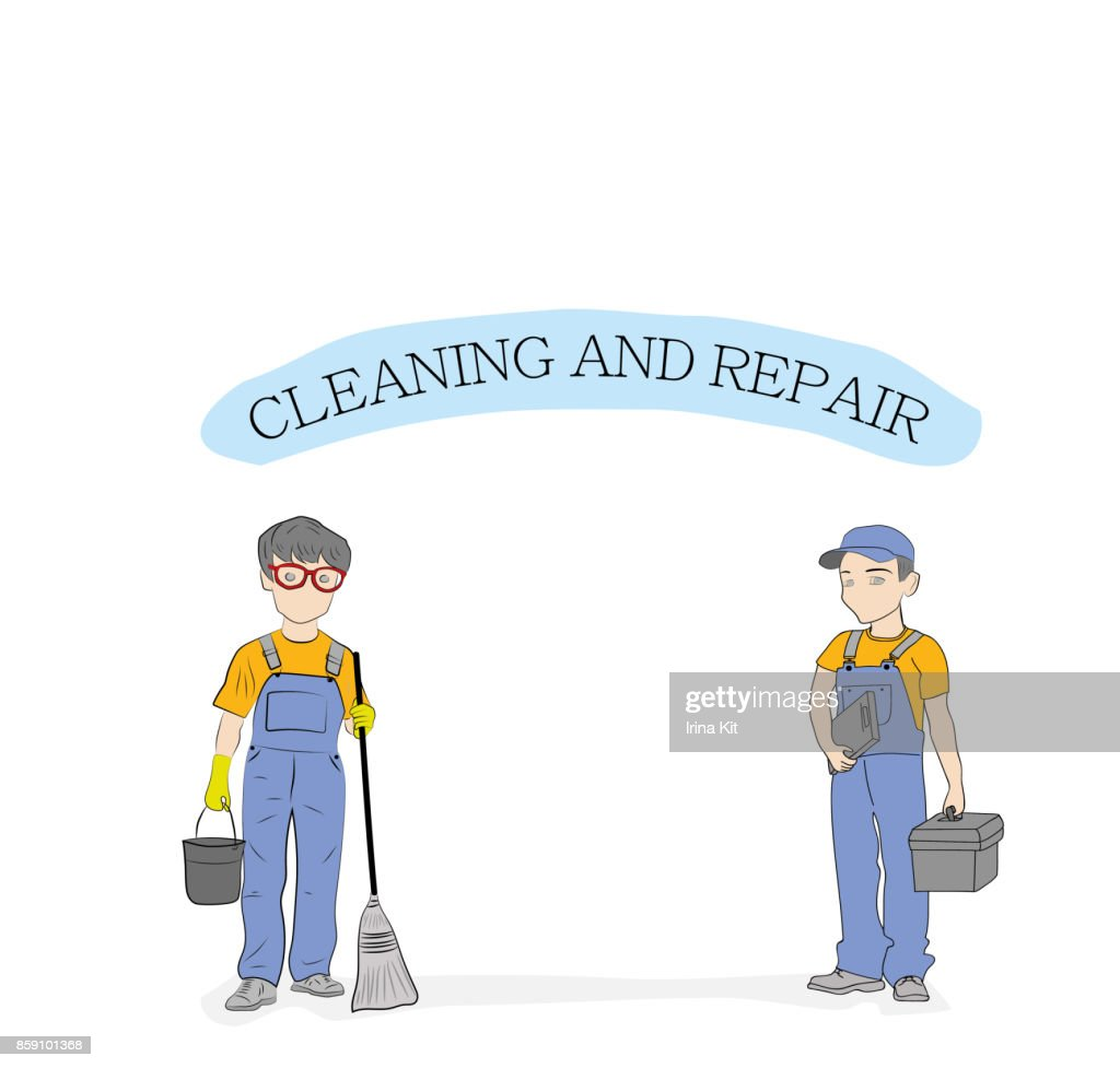 Man workers with a tool and the inscription 'CLEANING AND REPAIR'. vector illustration.