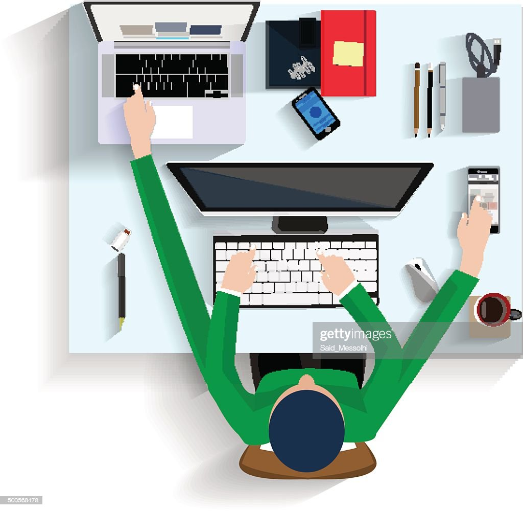 man working on computer, flat design view top illustration