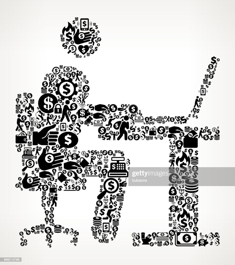 Man Working on Computer Money and Finance Black and White Icon Background : Stock Illustration
